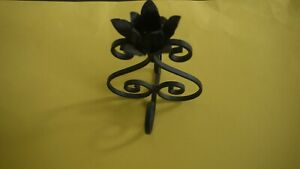 Single Black Wrought Iron Intricate Flower Scroll design Candle Holder