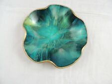 """Seetusee Glassware Mayfair Leather Backed Scalloped Bowl Trinket 5"""" Blue Green"""