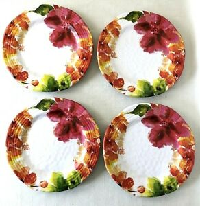 "4 Nicole Miller 9"" Melamine Luncheon Salad Desert Plates Floral Plastic Picnic"
