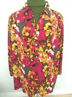 Alfani Woman's Multicolor Tunic/Top V-Neck Long Sleeve Polyester/Spandex Sz 2X.