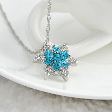 DF3 Blue Crystal Snowflake Silver Charm Necklace