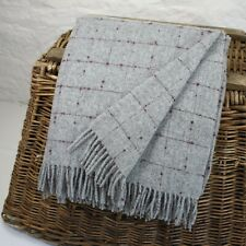 Grey and Burgundy 100% Wool British Made Tweed Fabric Blanket Throw *Not Harris