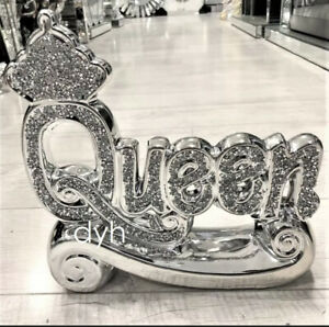 SILVER CRUSHED DIAMOND SPARKLY CROWN KING QUEEN ORNAMENT SHELF SITTER BLING✨
