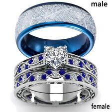 2 Rings Couple Rings Titanium Steel Sapphire White Gold CZ Women's Wedding Ring