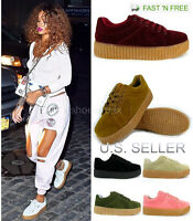 Women's Suede Sneakers Shoes Thick Base Lace Up Casual Fenty Creepers Fashion