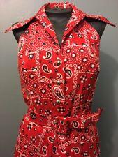 Vtg 50s 60s Ladies Pinup Halter Dress Rockabilly VLV Womens Handkerchief Bandana