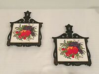 Vintage Cast Iron Trivet Ceramic Tile White Hot Plate With Fruit - Lot of Two