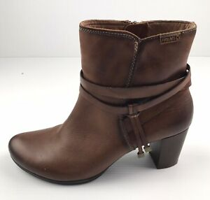 Pikolinos Brown Leather Women's Ankle High Side Zip High Heel Boots Size EU41