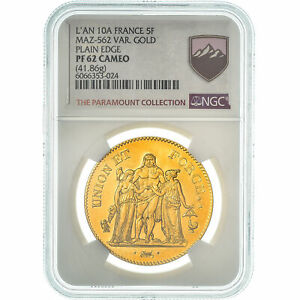 [#475197] Monnaie, France, Union et Force, 5 Francs, An 10, Paris, NGC, PF62 CAM