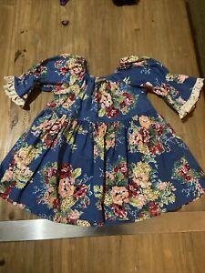 Matilda Jane size 6 top blouse blue floral linen cotton blend