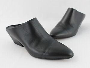 Vince Black Leather Slip On Pointed Toe Mule Heel Shoe Size 37 US 7