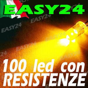 100 DIODI LED GIALLI GIALLO ALTA LUMINOSITA' 20 gradi 5 mm con resistenze