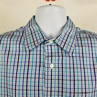 Banana Republic Non Iron Slim Fit Blue Check Plaid L/S Dress Button Shirt Large