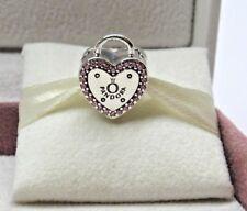2018 Pandora w/ Box Lock Your Promise CZ Silver Heart Clip Charm 796556FPC Love