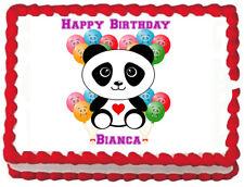 Panda w/ Balloons Birthday Edible Frosting Cake Topper