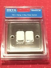 Deta 1904SC Satin Chrome White Insert 10A 2 Gang 2 Way Plate Switch