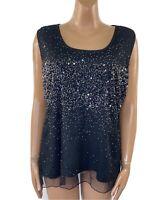 Stunning ANN HARVEY Black Sparkly Sequin Party Top UK 20 Festive