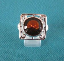 925 Sterling Silver Ring With Brazilian Citrine UK M 1/2 US 6.50 (rg0531)
