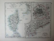 1897 Victorian MAP ~ CORSE ENVIRONS PARIS ~ Riviera