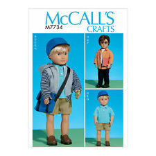 """McCall's 7734 Sewing Pattern to MAKE 18"""" Boy Doll Clothes Hat & Sachel Bag"""