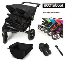 Out n About Double Nipper 360 V4 Newborn Support/Basket/Raincover/Pump - Black
