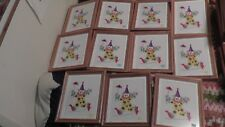 lot of 11 circus clown art framed wood glass highwire audrey horn limited rare !