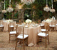 Champagne Sequin Tablecloth 9 Pcs 108'' Round for Wedding/Dessert Dinning Table