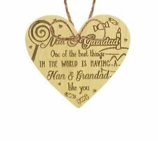 Nan Grandad Gifts Hanging Oak Heart Sign Birthday Christmas Xmas Grandparent