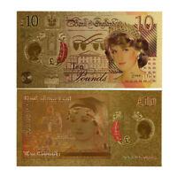 WR Farbige Gold Prinzessin Diana Gedenk Banknote 10 Pfund UK Andenken