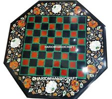 """24"""" Marble Chess Table Top Fine Floral Semi Inlaid Outdoor Play Game Decor M163"""