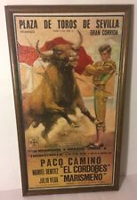 PACO CAMINO Framed Textured Textile Artwork Picture Bullfighting Laminograf