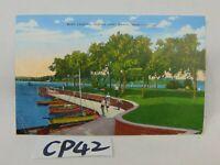 VINTAGE POSTED POSTCARD+STAMP 1950'S LINEN BOAT LANDING CARTER LAKE OMAHA NE
