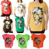 Women's Ladies Camouflage Skull Print Goth Short Sleeve Plus Size T Shirt Top