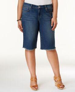 Style & Co (JN20-55*) Plus Raw-Hem Bermuda Denim Shorts Marine Sz 24W $56.50