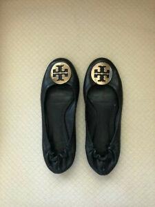 Tory Burch Black Leather Reva Ballet Logo Flat - Size 8M