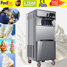 20L/H Stand Commercial 3 Flavors Ice Cream Machine Steel Automatic 110V Portable