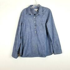 J.Crew Chambray Denim 14 Half Button Pop-over  Cotton Long Sleeve Shirt