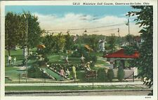 OLD VINTAGE MINIATURE GOLF COURSE AT GENEVA-ON-THE-LAKE OHIO 1939 LINEN POSTCARD