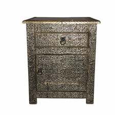 Moroccan Drawer Nightstand End Table Silver Etched Metal Arabesque Furniture