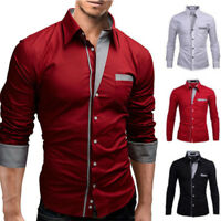 Mens Slim Fit Dress Shirt Business Formal Casual Button Down Long Sleeve T-shirt