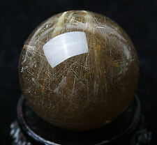 38mm Natural Clear Gold Hair Rutilated Crystal Ball SPHERE Quartz Specimen