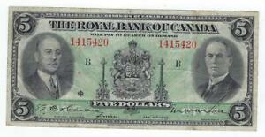 Canada P-S1378 5 Dollars 1935 F