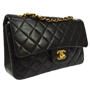 CHANEL Classic Double Flap Small Chain Shoulder Bag BK Leather 3753054 WA00623c