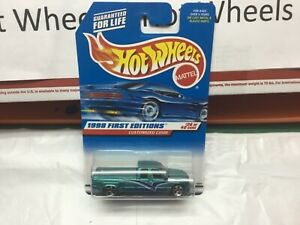 Hot Wheels 1998 First Editions Customized C3500 #26/40 Green w/5 Circle Wheels