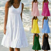 Plus Size Women Holiday Summer Sleeveless Party Beach Short Dress Solid Sundress