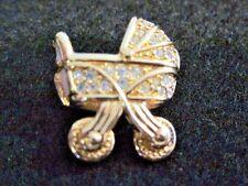 Swarovski Swan Signed Vintage Baby Stroller Gold tone  Buggy Brooch Rare   270