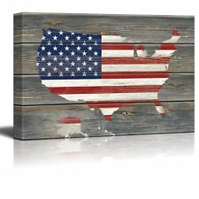 American Flag Over a Map of the United States - Canvas Art Home Decor - 32x48