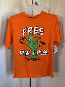 """Halloween Boy's XL (14-16) Orange """"Free High Fives"""" Hand Bats Grave T-Shirt NWT"""