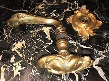 Antique Gilded Bronze LOUIS XV ORNATE DOOR Knob Béquille Rosace RGBBQR