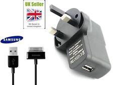 """Samsung Galaxy Tab 2 P1000 Cable Usb Y Cargador De Pared Para Tablet De 10.1 """" 7"""" 9 """"del Reino Unido"""